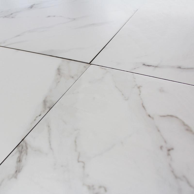 Carrelage sol blanc aspect marbre carrare grey mat al for Carrelage faux marbre